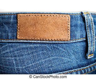 leeg, leder, etiket, achtermening, van, weared, jeans
