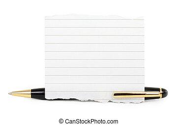 leeg, notepaper, stok, op, een, pen