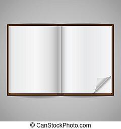 leeg, opengeslagen boek, met, hoek, vouw