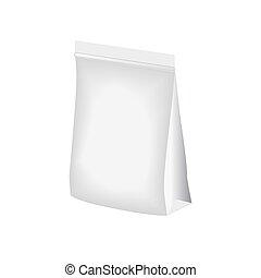 leeg, opstaan, zak, folie, of, plastic, verpakking, met, zipper., zak, template., zak, template., verpakking, doosje, op wit, achtergrond., vector, illustration.