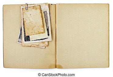 leeg, oud, geopend, dagboek, of, copybook, met, foto's, bos,...
