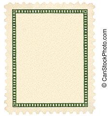 leeg, ouderwetse , postzegel, en, groene, vignet, macro,...