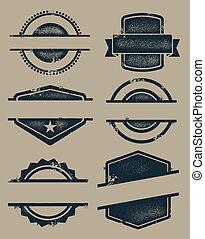 leeg, ouderwetse , zegels, en, postzegels