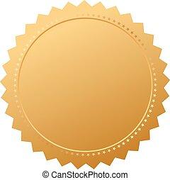 leeg, overeenkomst, gouden zegel