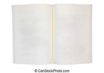 leeg, pagina's, boek, geopend, vrijstaand