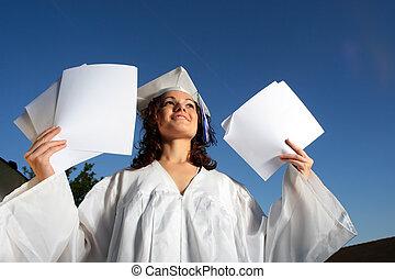 leeg, papers., vrouw, jonge, afstuderen