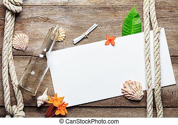 leeg, papier, blad, op, verweerd hout, achtergrond, met,...
