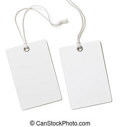 leeg, papier, etiket, of, doek, label, set, vrijstaand