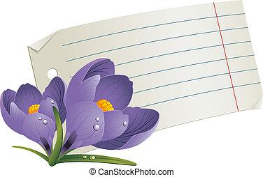 leeg, papier, met, bloemen, voor, een, roma