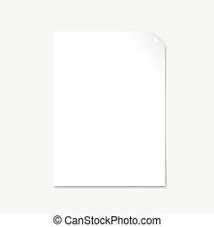 leeg, papier, met, pagina, krul