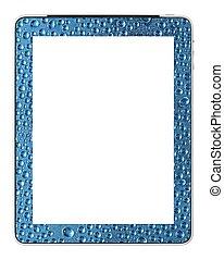 leeg, pc, tablet, met, waterdruppels, ontwerp, door, fotograaf
