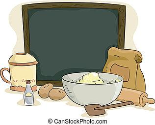leeg, plank, met, bakken, materialen, en, ingredienten