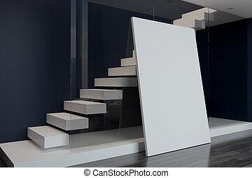 leeg, poster, en, witte , trap, achter, muur