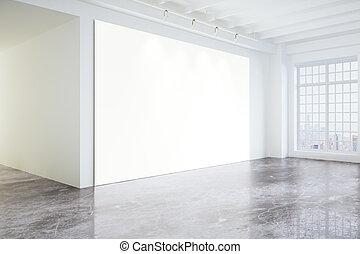 leeg, poster, in, licht, moderne, zolder, galerij, met, groot, vensters, en, betonnen vloeren, spotten, op