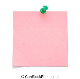 leeg, roze, aantekening, kleverig