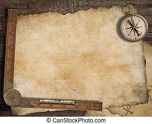 leeg, schatkaart, achtergrond, met, oud, kompas, en, ruler.,...