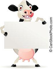 leeg, spotprent, koe, meldingsbord