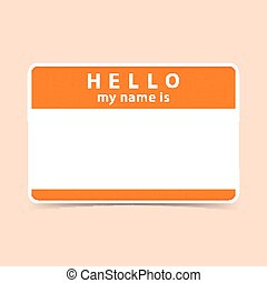 leeg, sticker, label, hallo, naam