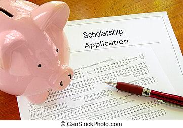leeg, studiebeurs, aanvraagformulier, met, piggy bank