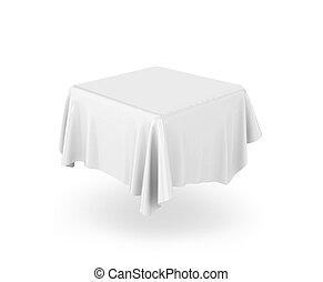 leeg, tablecloth., 3d, illustratie, vrijstaand, op wit,...