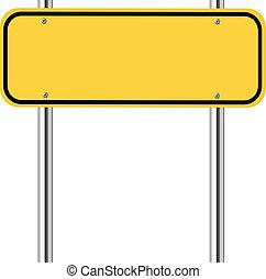 leeg, verkeer, geel teken