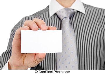 leeg visitekaartje, in, een, hand