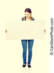 leeg, vrouw, jonge, billboard.
