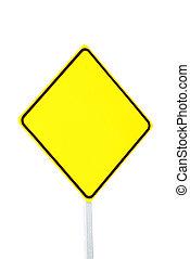 leeg, waarschuwend, geel teken