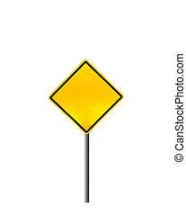 leeg, waarschuwend, gele straat, meldingsbord