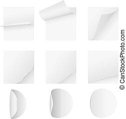 leeg, witte , papier, blad, met, pagina, krul, vector