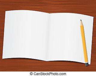 leeg, witte , papier, en, potlood