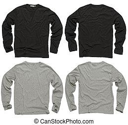 leeg, zwarte en, grijs, lange mouw, overhemden