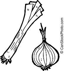 leek and onion cartoon