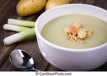 Leek and potato soup vintage - A bowl of leek and potato...