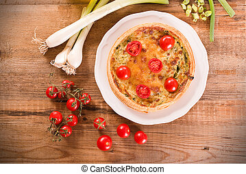 Leek and tomato quiche.