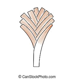 Leek Onion Icon. Thin Line With Orange Fill Design. Vector...