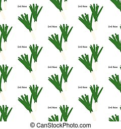 Leek onion seamless pattern on the white background. Vector...