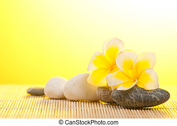 Leelawadee flower and pebbles on bamboo background