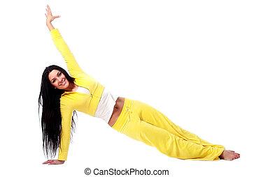 leende flicka, gör, fitness, genomkörare