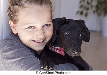 leende flicka, med, hund