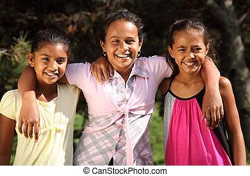 leende glada, flickor, skola, tre