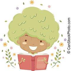 leer, árbol, ilustración, libro, niña, niño
