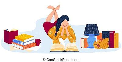 leer, acostado, libros, mujer, caricatura, carácter, ilustración, vector, plano, pila, biblioteca, papel, lectura, abierto, libro cuentos, booklover
