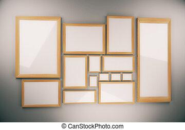 Leer, Bild Rahmt, Zusammensetzung, Auf, Wand, Verhöhnen, Auf