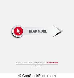 leer, botón, más