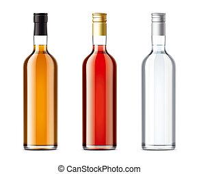 leer, flaschen, satz, von, alkohol, getränk