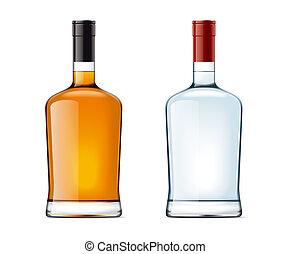 leer, flaschen, von, alkohol, getränk