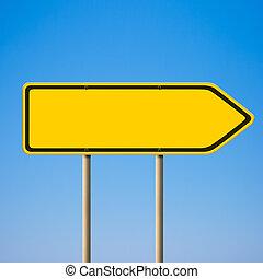 leer, gelbe straße, zeichen, richtung, zeiger, zu, recht, gegen, blauer himmel