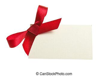 leer, geschenkpreisschild, gebunden, mit, a, schleife, von,...