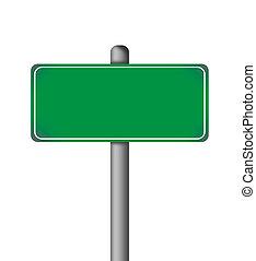 leer, grün, freigestellt, straße zeichen